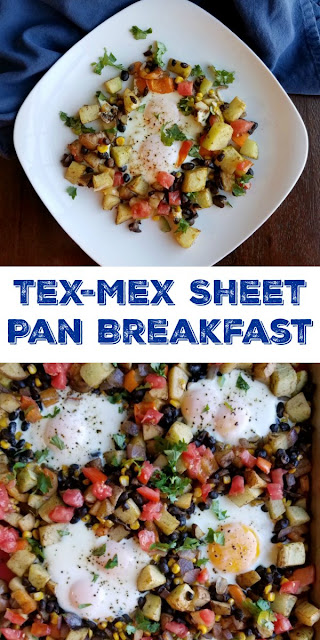 This Tex-Mex style sheet pan meal is so versatile, adaptable and delicious. It is a nutritious way to start your day and it's great for dinner as well.