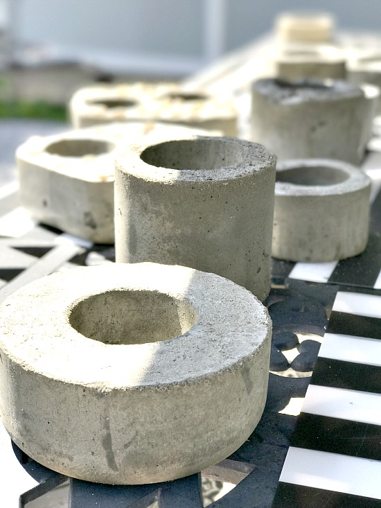 Family project creating cement planters