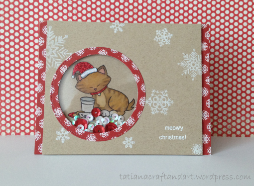 Kitty Christmas card by Tatiana | Newton's Holiday Mischief stamp set by Newton's Nook Designs