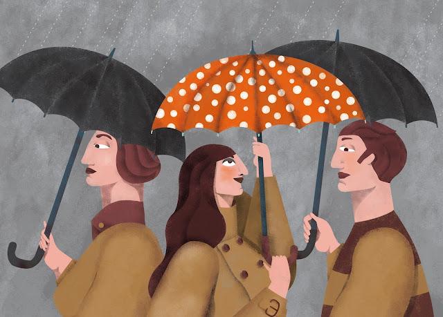 Umbrellas, rainning illustration - Ilustración mujer con paraguas. Lluvia. Optimismo.