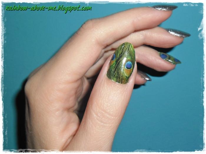 Zwykly Lakier Na Manicure Hybrydowy Naklejki Wodne Pawie Oczka