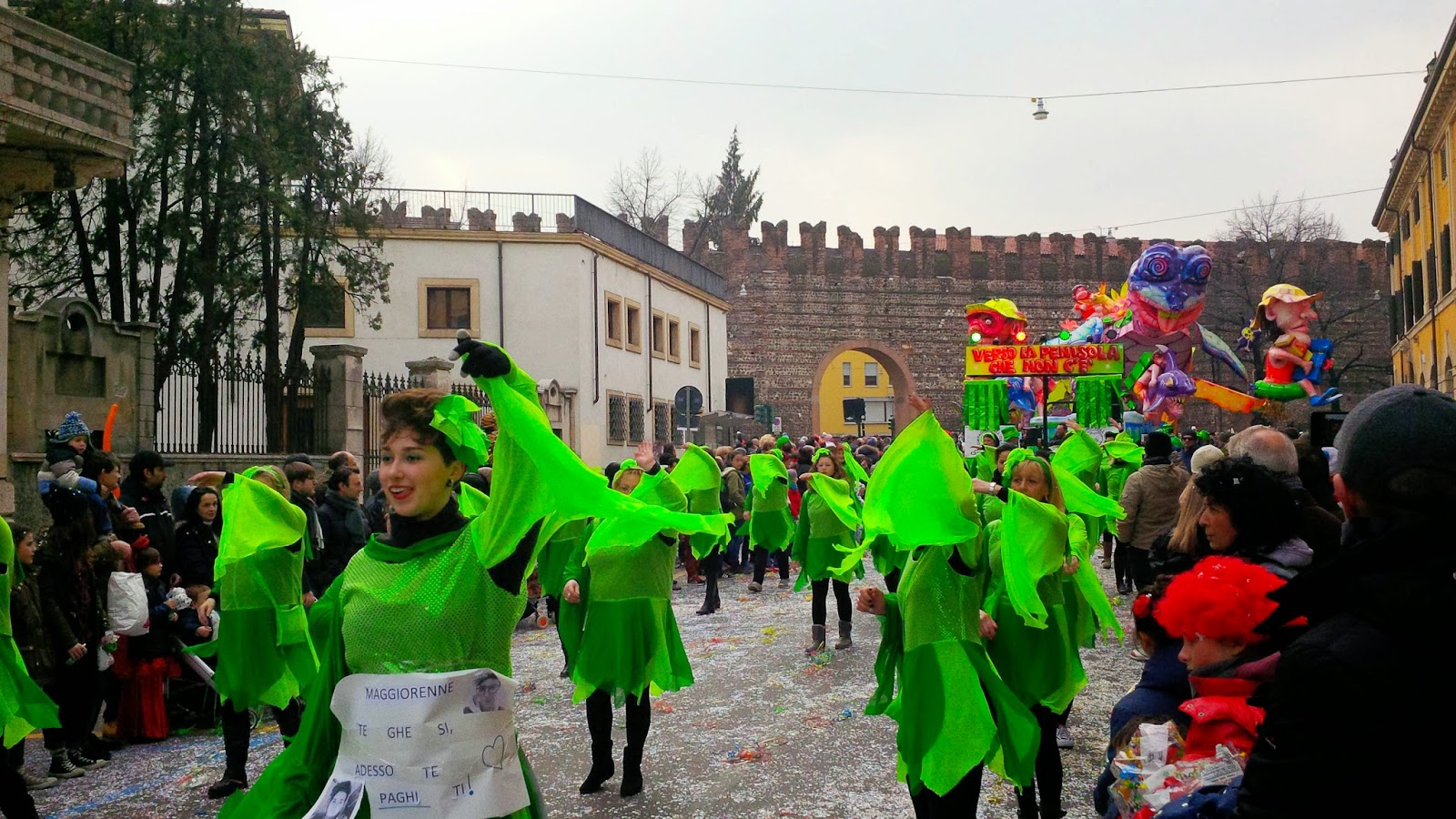 People dancing at the parade for Verona Carnival