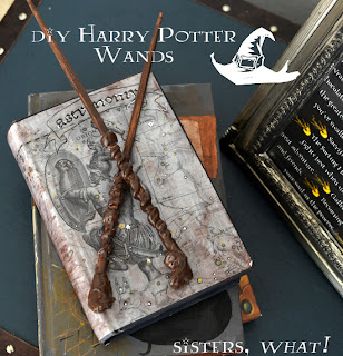 Harry Potter wands made out chopsticks and a glue gun