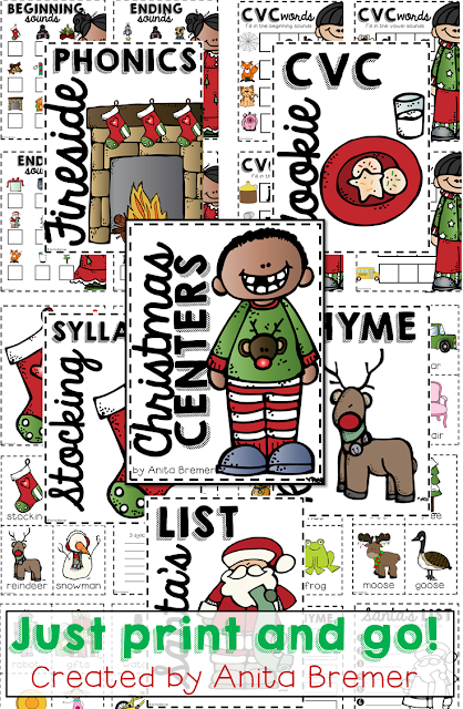 Christmas Literacy Centers: 5 engaging and fun centers kids will love & print and go prep that teachers will love!