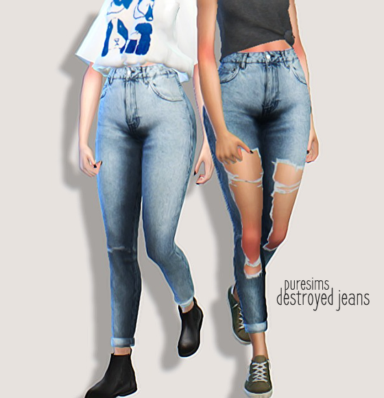 my sims 4 blog destroyed jeans by puresims. Black Bedroom Furniture Sets. Home Design Ideas