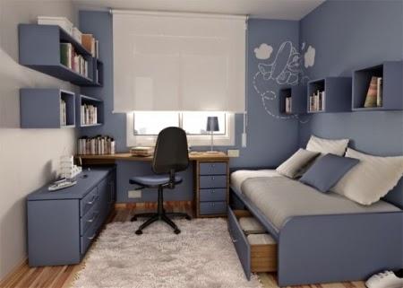 Dormitorios juveniles en celeste y gris dormitorios for Habitacion juvenil azul