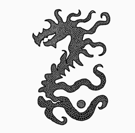 Illusztráció vershez, tetoválás-szerű fekete-fehér rajz; a tiste andiik ura, Anomander Rake fekete sárkányként, Erikson Malazai Bukottak könyveiből.