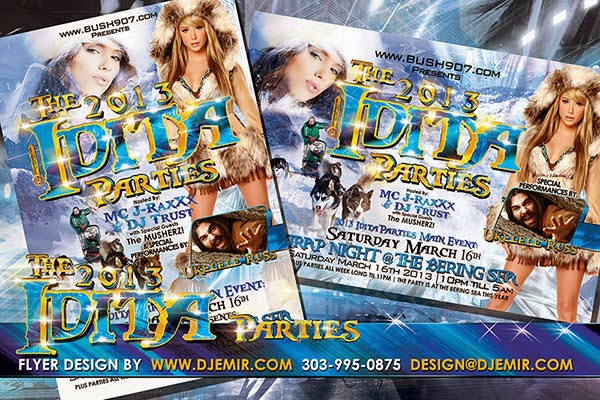 Idita Parties Nome Alaska Iditarod Finish Line After Parties Flyer Design