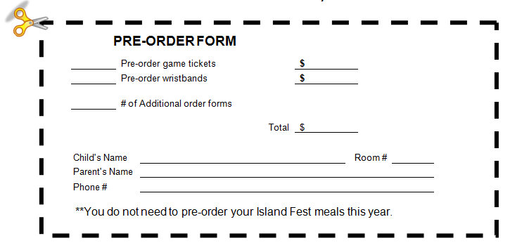 Field pto april 2011 for Food pre order form template