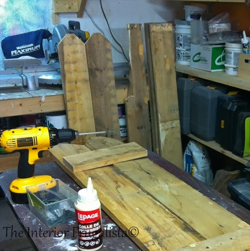 Pallet boards dismantled and ready to make a festive centerpiece