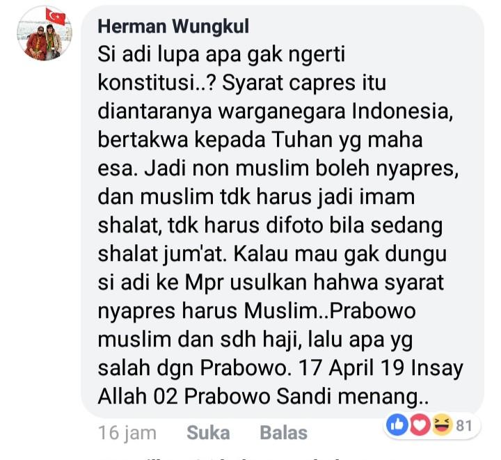 Jadi Imam Shalat Jadi Alasan Pilih Capres, Ini Bantahan Telak Netizen