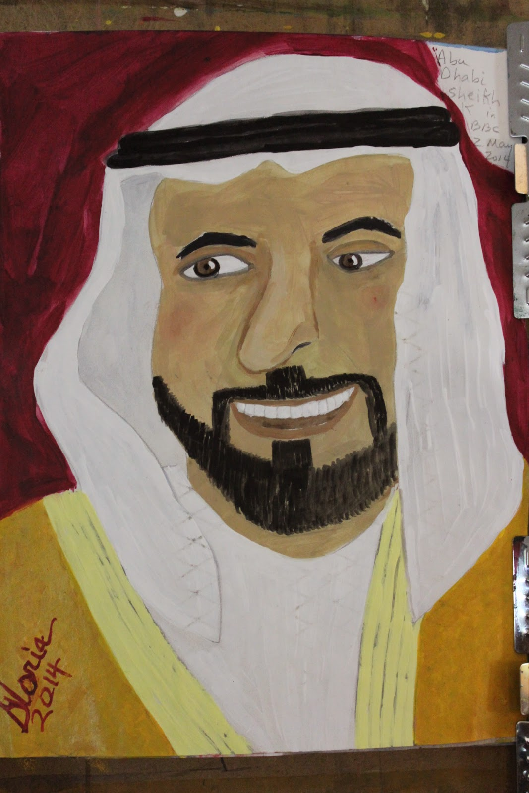 Abu Dhabi Sheik Khalifa sketch by Gloria Poole of Missouri 7-May-2014 ; acrylics