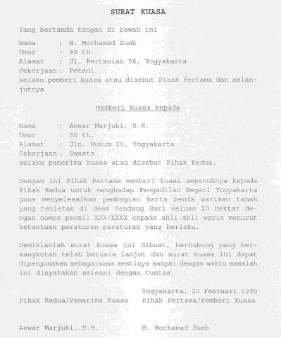 Pengertian Fungsi Macam Dan Contoh Surat Kuasa Murad Maulana
