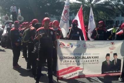 Longmarch Buruh Menangkan 02 Sudah Di Jabar, tiba di Jakarta Saat Kampanye Akbar Di GBK