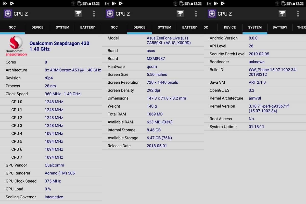 Benchmark Asus Zenfone Live L2