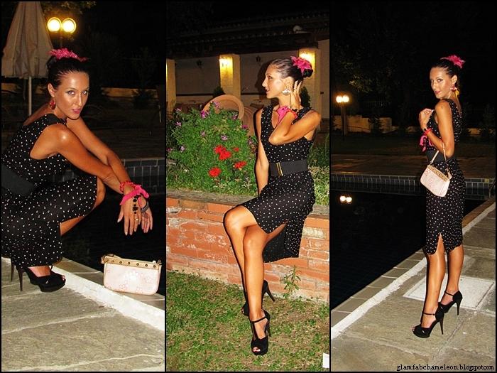 sheer black midi dress with small polka dots
