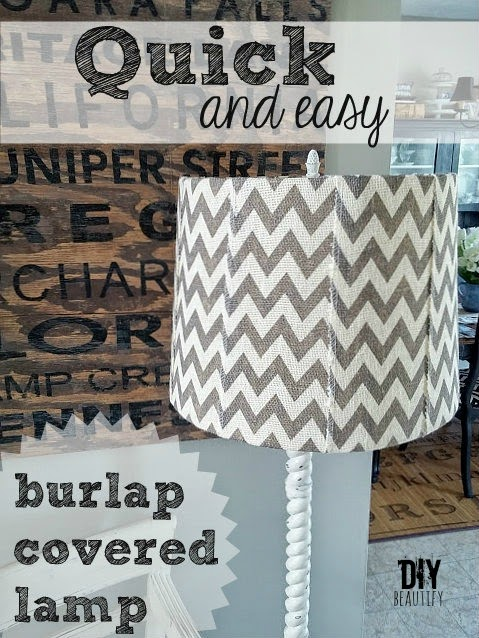 Update a tired lampshade with this easy DIY and burlap ribbon. Find out how at DIY beautify.