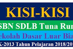 Kisi-Kisi USBN SDLB Tuna Rungu Tahun Pelajaran 2018/2019