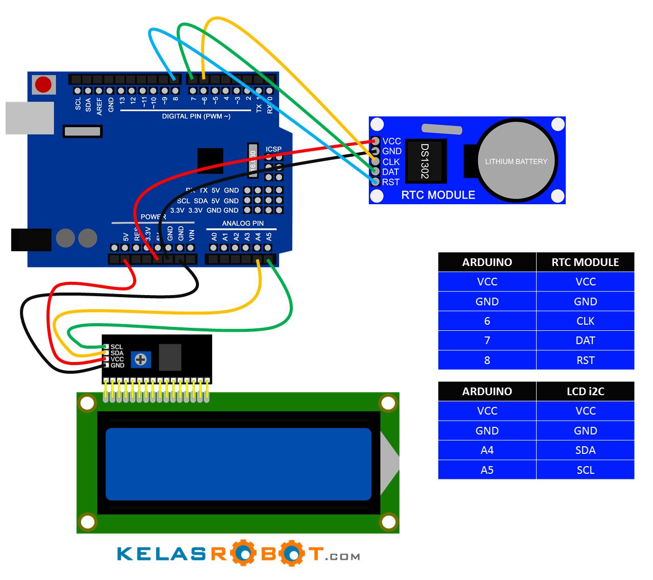 Membuat jam digital dengan arduino uno rtc ds dan