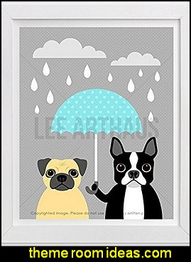 Pug and Boston Terrier Holding Blue Umbrella UNFRAMED Wall Art Print