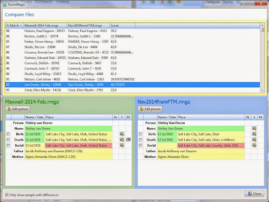 Granite Genealogy: New RootsMagic 7 COMPARE FILES Feature - My Way!
