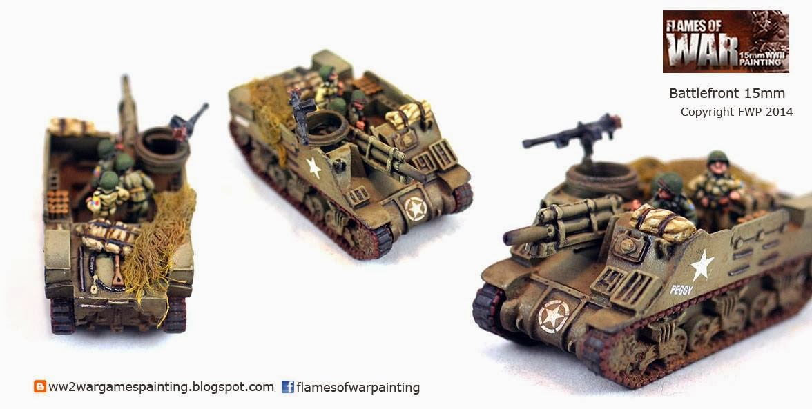 Painted WW2 Tanks. M7 Priest HMC with crew Battlefront 15mm