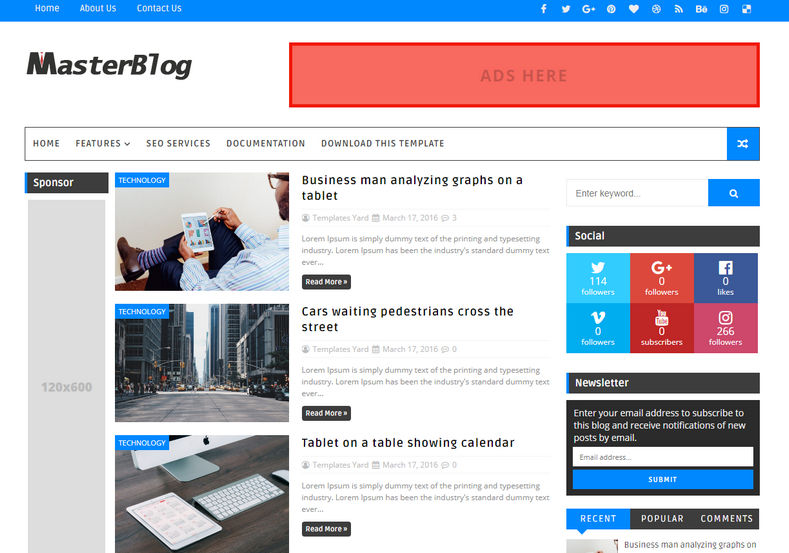 Master blog blogger template blogger templates gallery master blog blogger template flashek