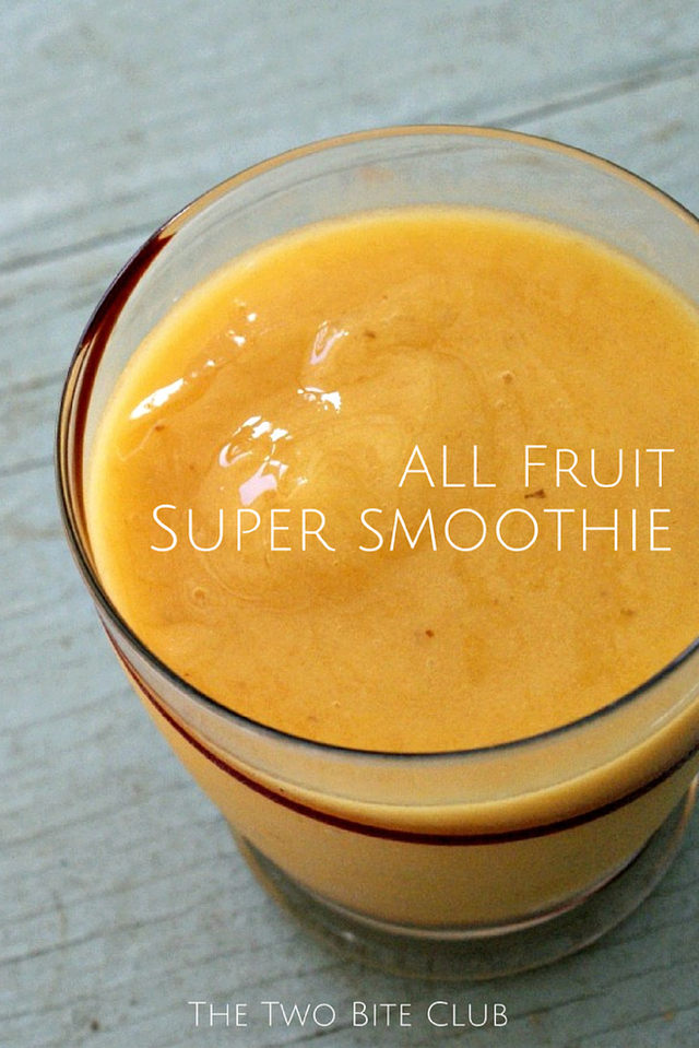 All Fruit Super Smoothie made with bananas, mango, papaya, and pear | #healthy #cleaneating #snack | thetwobiteclub.com