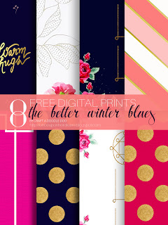 New free digital and printable papers by Craft A Doodle Doo; The Better Winter Blues Collection #free #printables #winter #digital #scrapbooking #giftwrap #prints