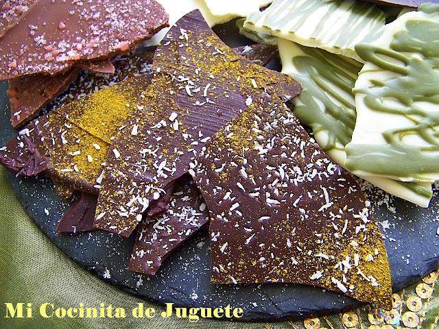 Lascas de Chocolate con Sabores: Curry - Coco