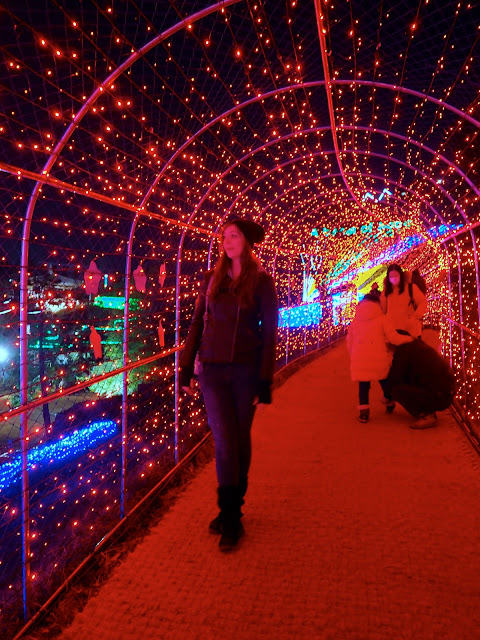 Posing for photos in the light tunnel at the Light Festival at Boseong Green Tea Plantation, South Korea