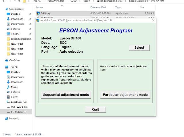 Epson XP-400 resetter