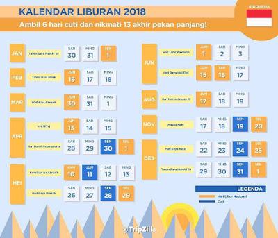 Daftar Lengkap Hari Libur Nasional dan Cuti Bersama Tahun 2018 www.guntara.com