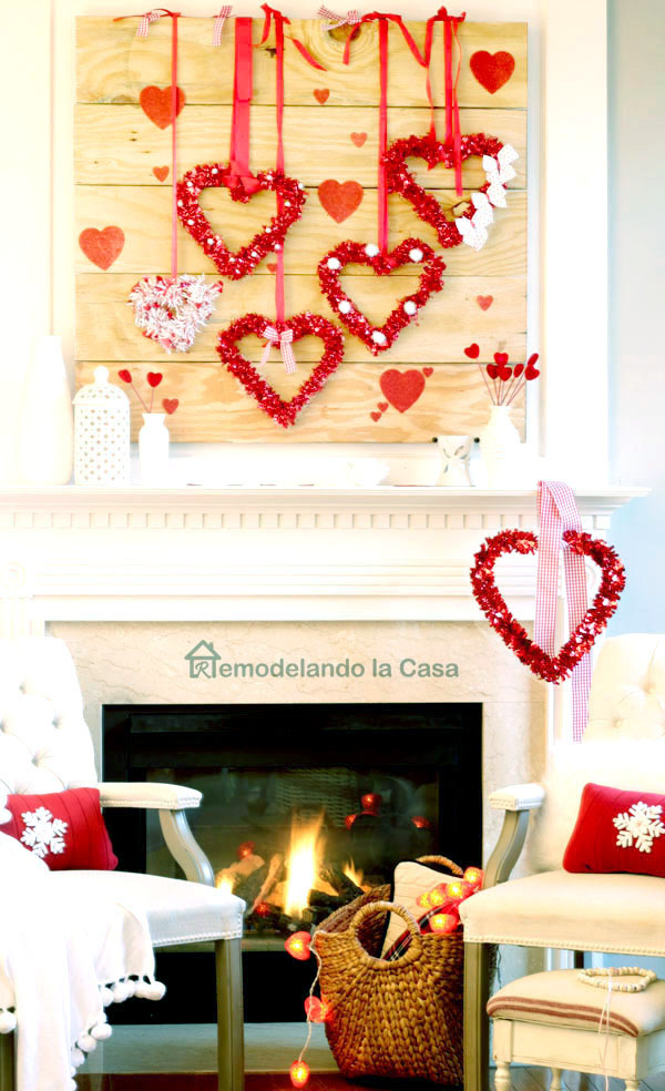 red pillows, white fireplace, basket natural red and white decor