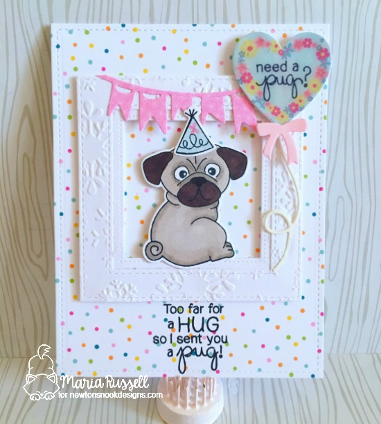 Pug Hugs by Maria Russell | Pug Hugs stamps set by Newton's Nook Designs #newtonsnook