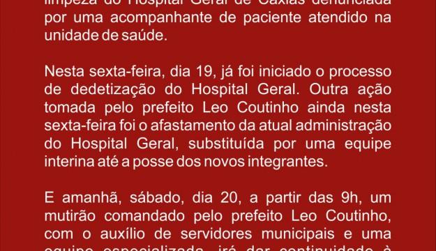 COMUNICADO: Nota de utilidade pública sobre o Hospital Geral de Caxias