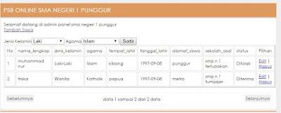 Download Code aplikasi php Pendaftaran Siswa Baru
