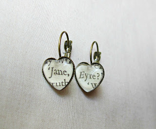 image literature earrings heart leverback glass jane eyre charlotte bronte two cheeky monkeys