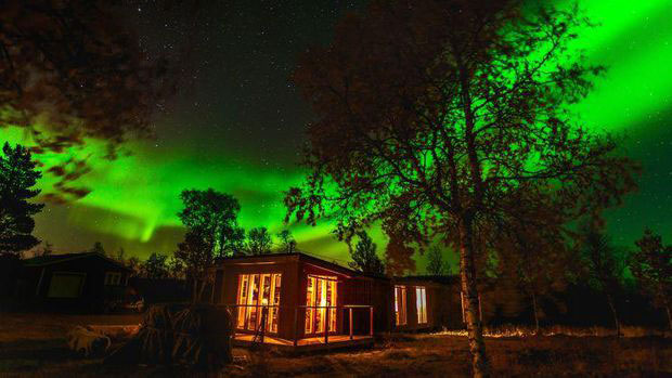 Awesome Aurora Picture at Gourmet Arctic Cabin, Kiruna, Sweden