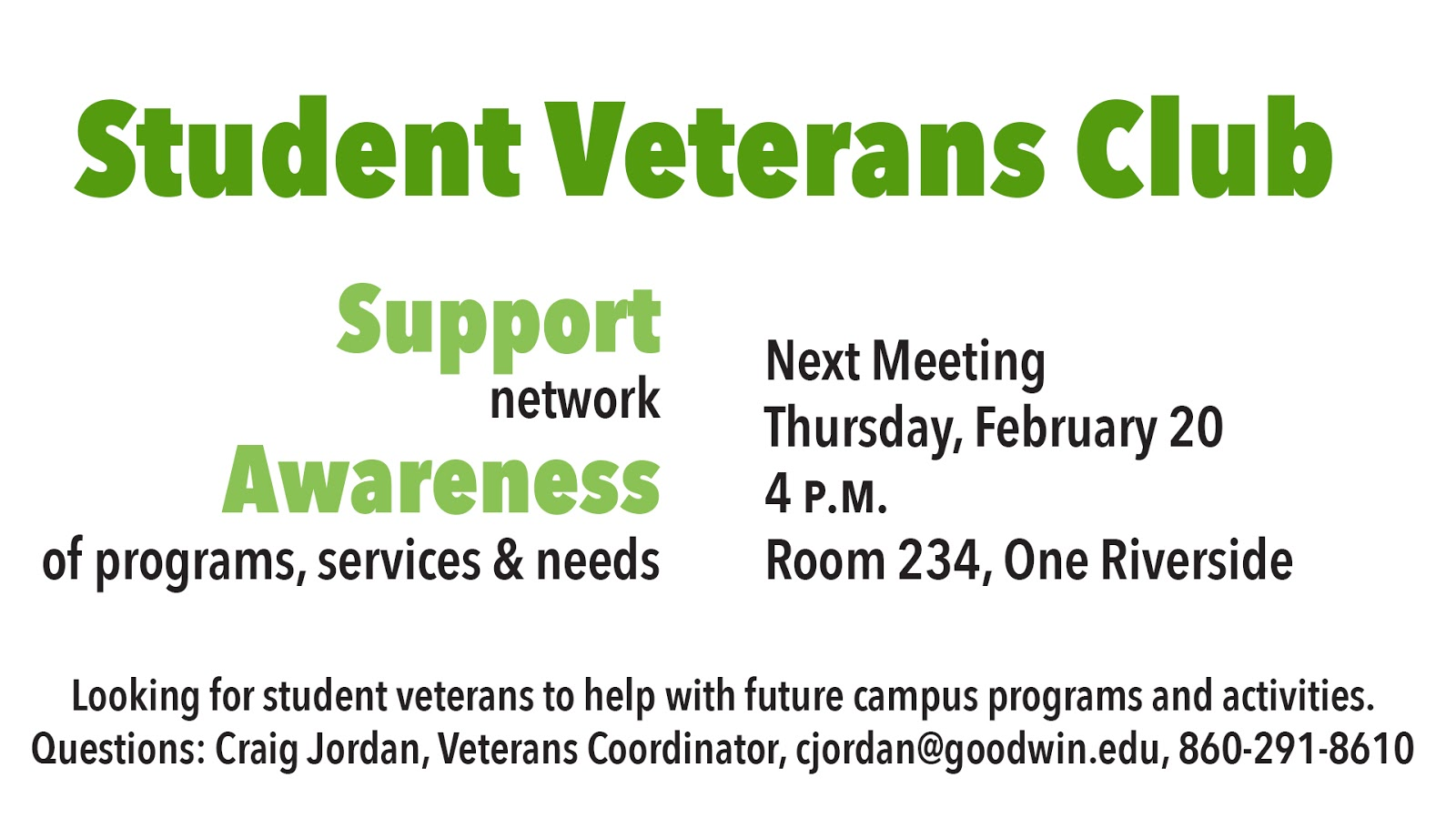 Student Veterans Club Meeting February 20
