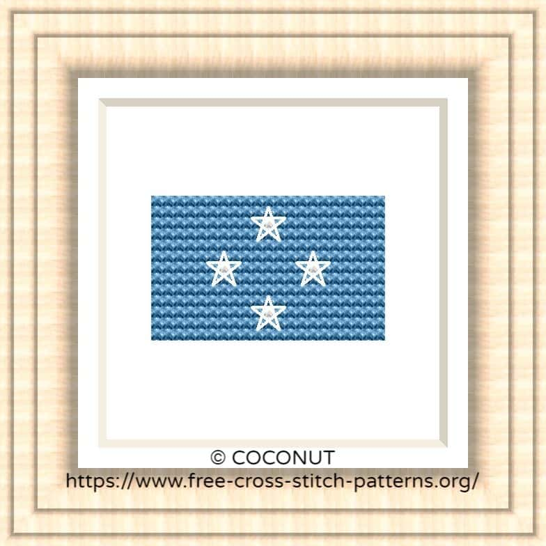 NATIONAL FLAG OF MICRONESIA CROSS STITCH CHART