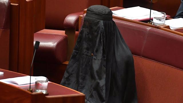 The ultra-right Australian politician came to the Senate in a burqa to protest
