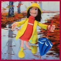 Muñeca con paraguas amigurumi