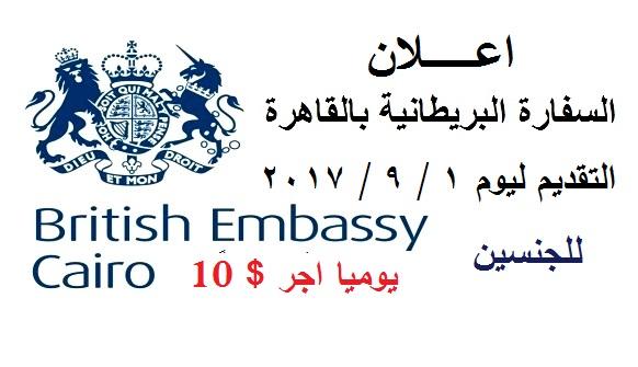 اعلان السفارة البريطانية للخريجين من الجنسين بحافز 10 دولار يوميا - التقديم الكترونى