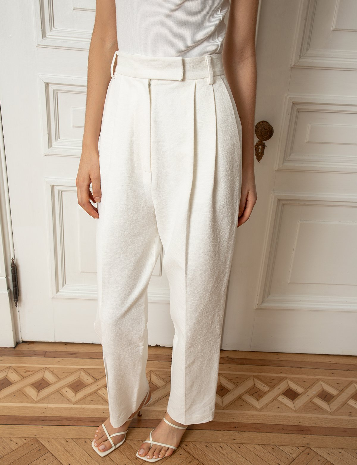 All-White Summer Outfit Inspiration — Pants and Strappy Sandals