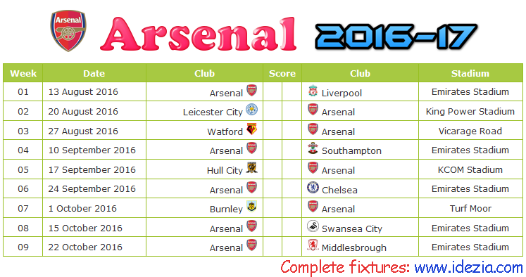Download Jadwal Arsenal FC 2016-2017 File JPG - Download Kalender Lengkap Pertandingan Arsenal FC 2016-2017 File JPG - Download Arsenal FC Schedule Full Fixture File JPG - Schedule with Score Coloumn