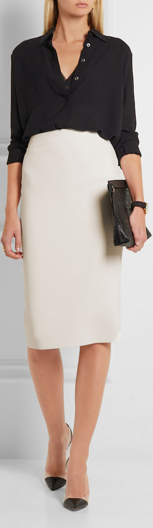 STELLA MCCARTNEY Sculptural Stretch Wool-Blend Pencil Skirt
