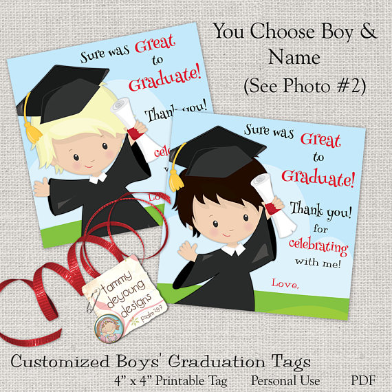 Boy Graduation treat bag tags