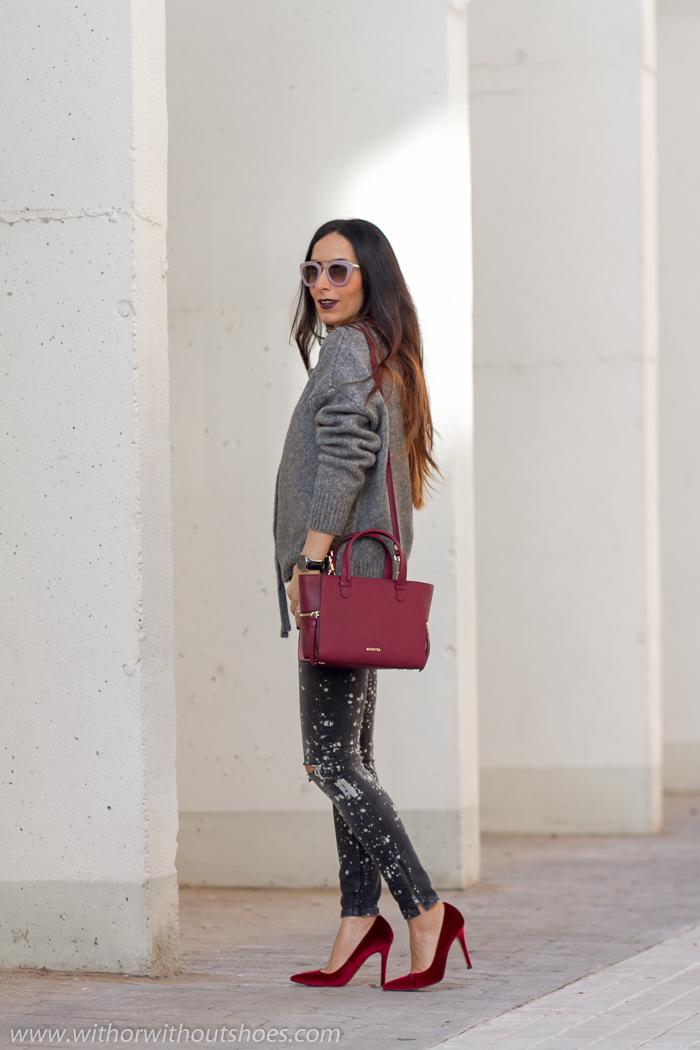 BurgundyBolso TerciopeloWith Y Complementos De Acosta Zapatos DI29EH