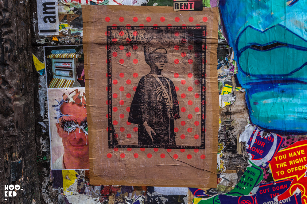 Artist Donk Shoreditch Street Art Paste-ups in London. Photo ©Hookedblog / Mark Rigney